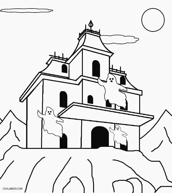 Printable Haunted House Coloring Pages For Kids