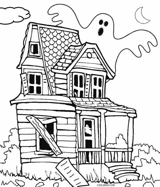 haunted house silhouettes coloring pages - photo#12