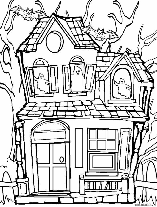 scary halloween house coloring pages - photo#10