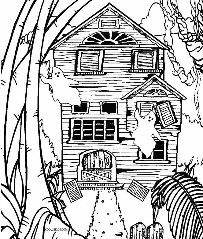 coloring pages haunted house - photo#22