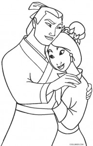Mulan and Shang Coloring Pages