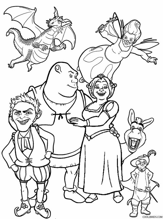 schreak coloring pages free - photo#1