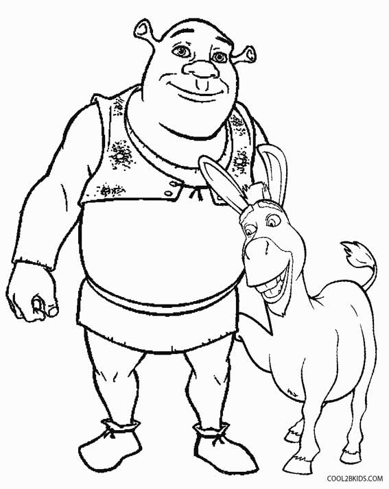 Printable shrek coloring pages for kids cool2bkids for Donkey coloring pages free