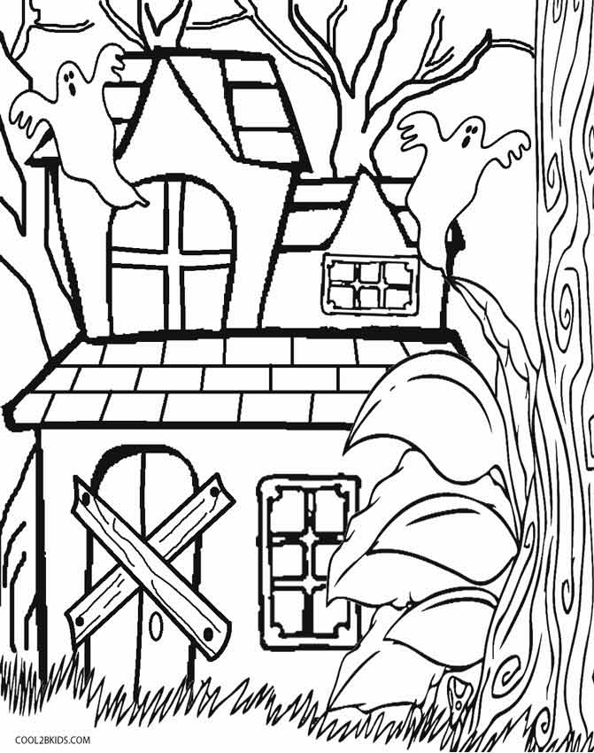 simple haunted house coloring page - Haunted House Coloring Pages