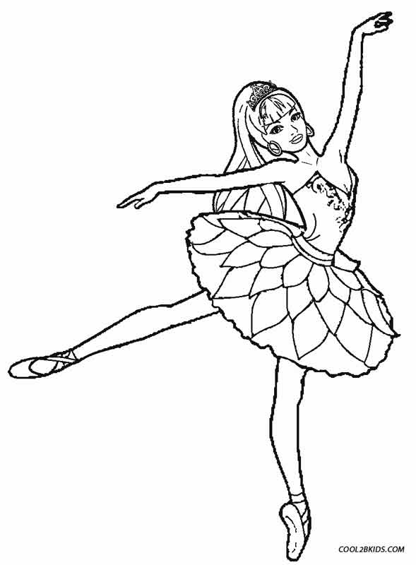 Printable ballet coloring pages for kids cool2bkids for Barbie ballerina coloring pages