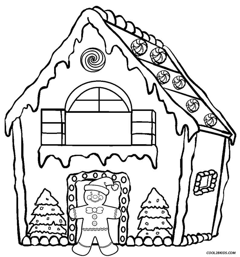 Gingerbread house coloring sheets printables
