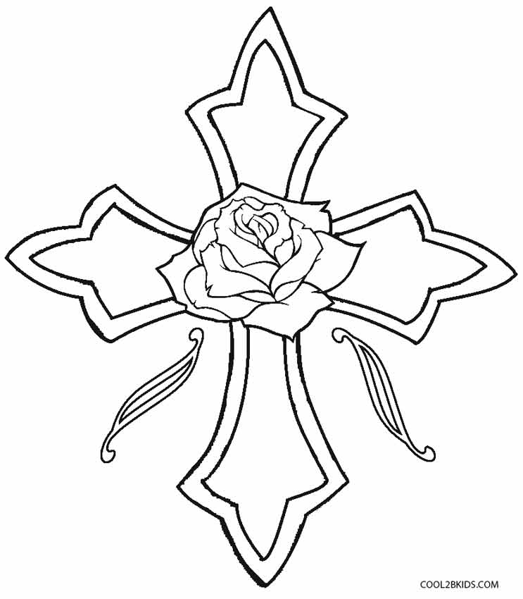 Printable rose coloring pages for kids cool2bkids for Coloring pages of cross