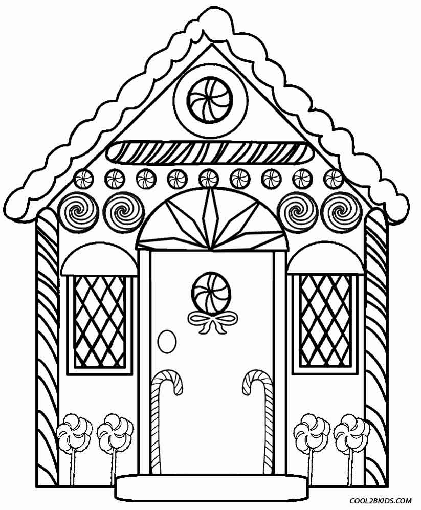 Printable coloring pages gingerbread house - Detailed Gingerbread House Coloring Pages
