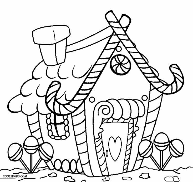 Printable gingerbread house coloring pages for kids for Gingerbread house coloring pages
