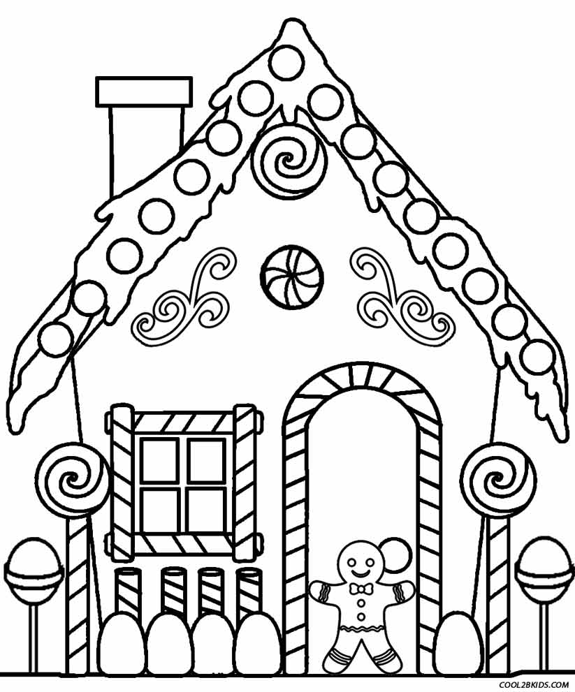 Gingerbread House Coloring Pages Printable #1