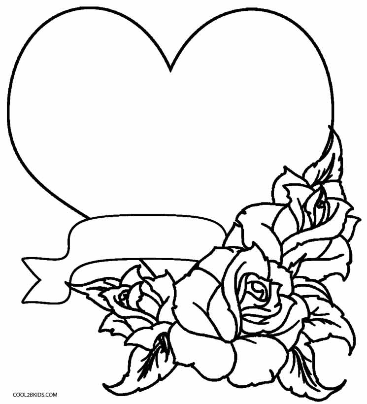 Hearts And Roses Coloring Pages