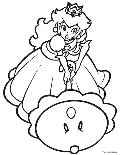 princess peach and birthday baby coloring page - Baby Princess Peach Coloring Pages