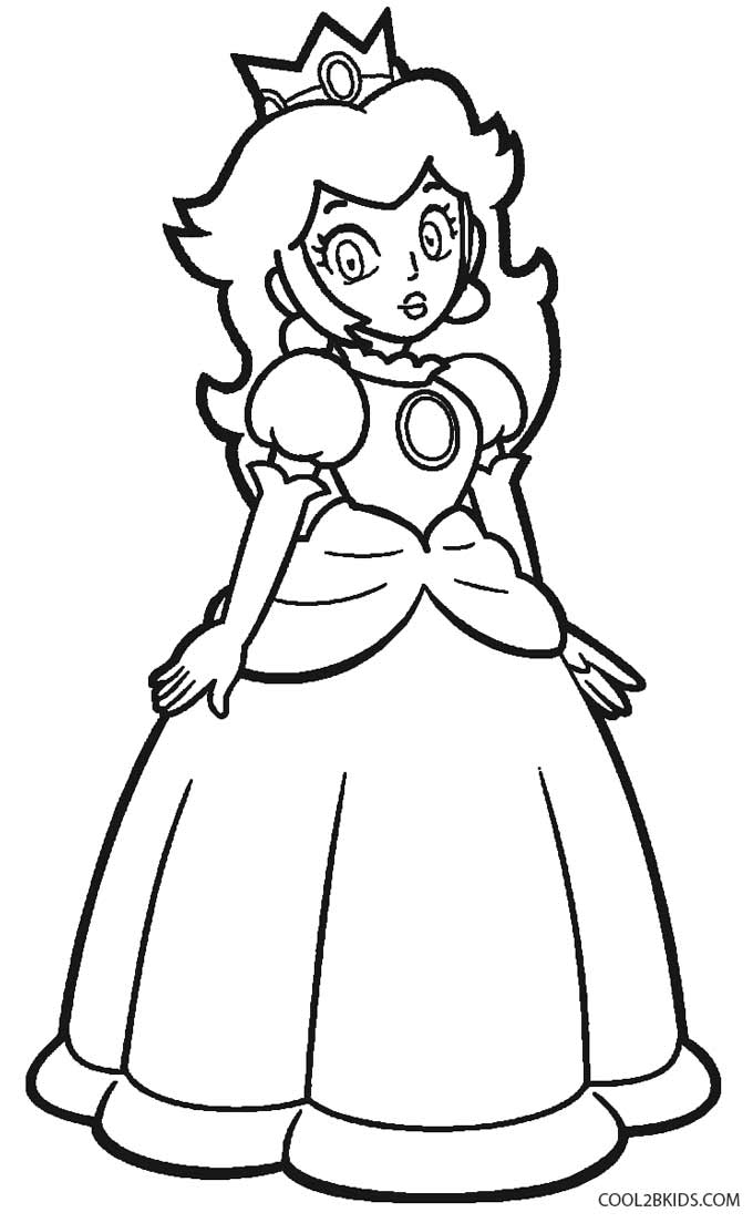 Printable princess peach coloring pages for kids cool2bkids for Princess printable color pages