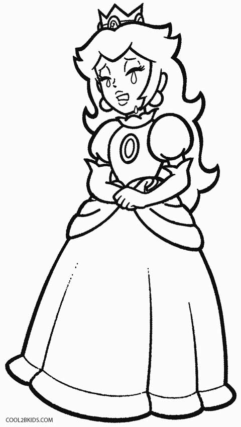 Baby peach coloring pages Princess Peach has long, blonde hair ... | 850x480