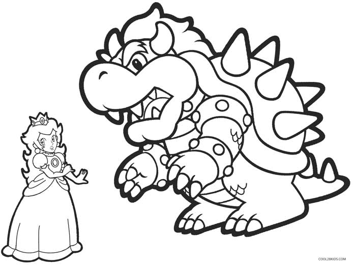 Paper mario bowser coloring pages
