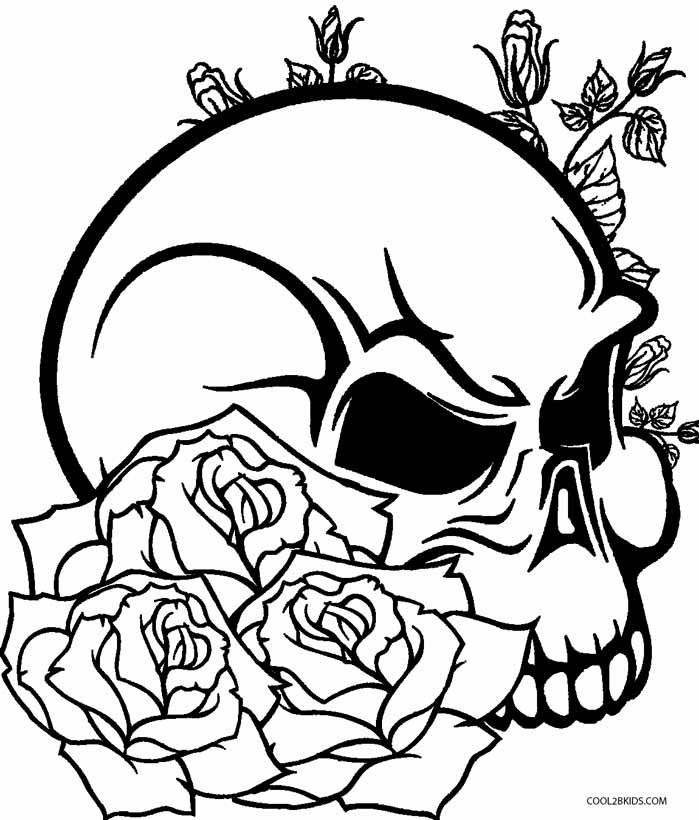 Skulls And Roses Coloring Pages