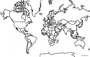 Printable World Map Coloring Page For Kids | Cool2bKids