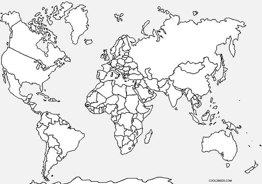 world map coloring page for kindergarten