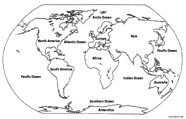 World Map Coloring Page For Preschoolers