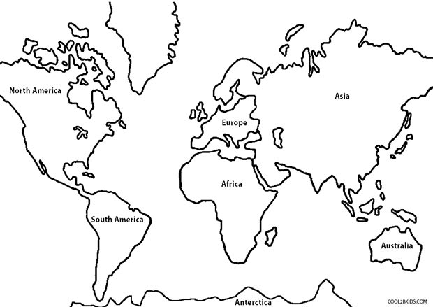 continents coloring page printable world map coloring page for kids cool2bkids