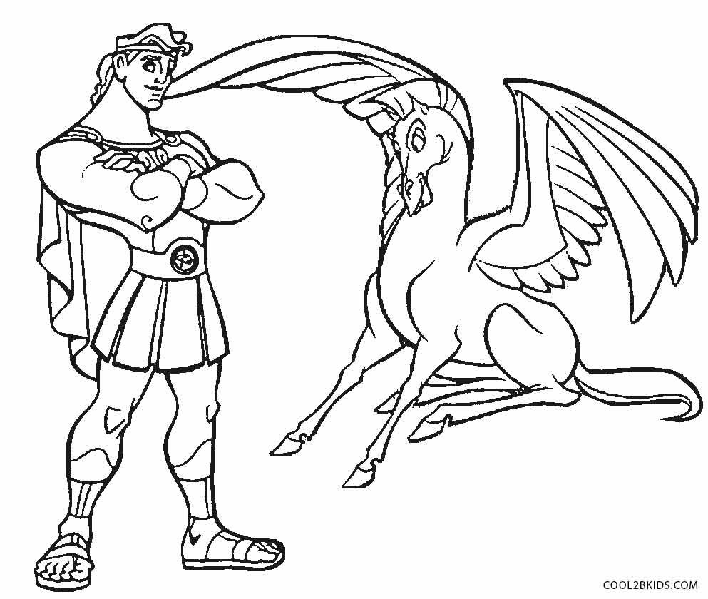 hercules pegasus coloring pages