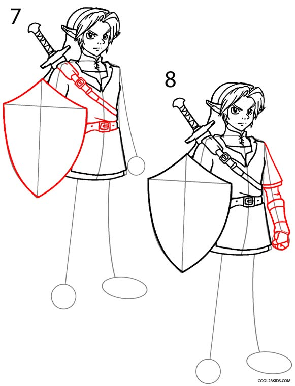 How To Draw Link (Step By Step Pictures)