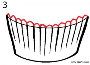 How to Draw a Cupcake Step 3