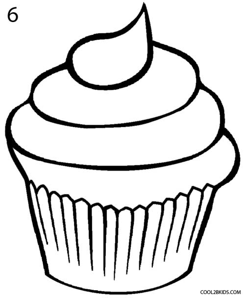 cup cake coloring page - how to draw a cupcake step by step pictures cool2bkids