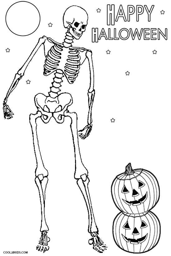 skeleton coloring pages halloween - Halloween Skeleton Coloring Pages