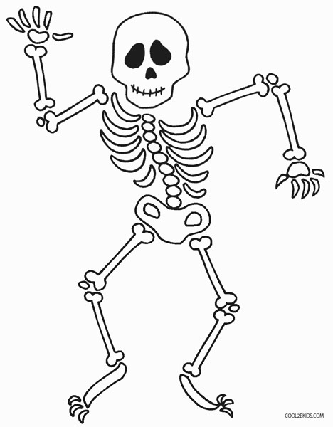 Skeleton coloring pages for kids