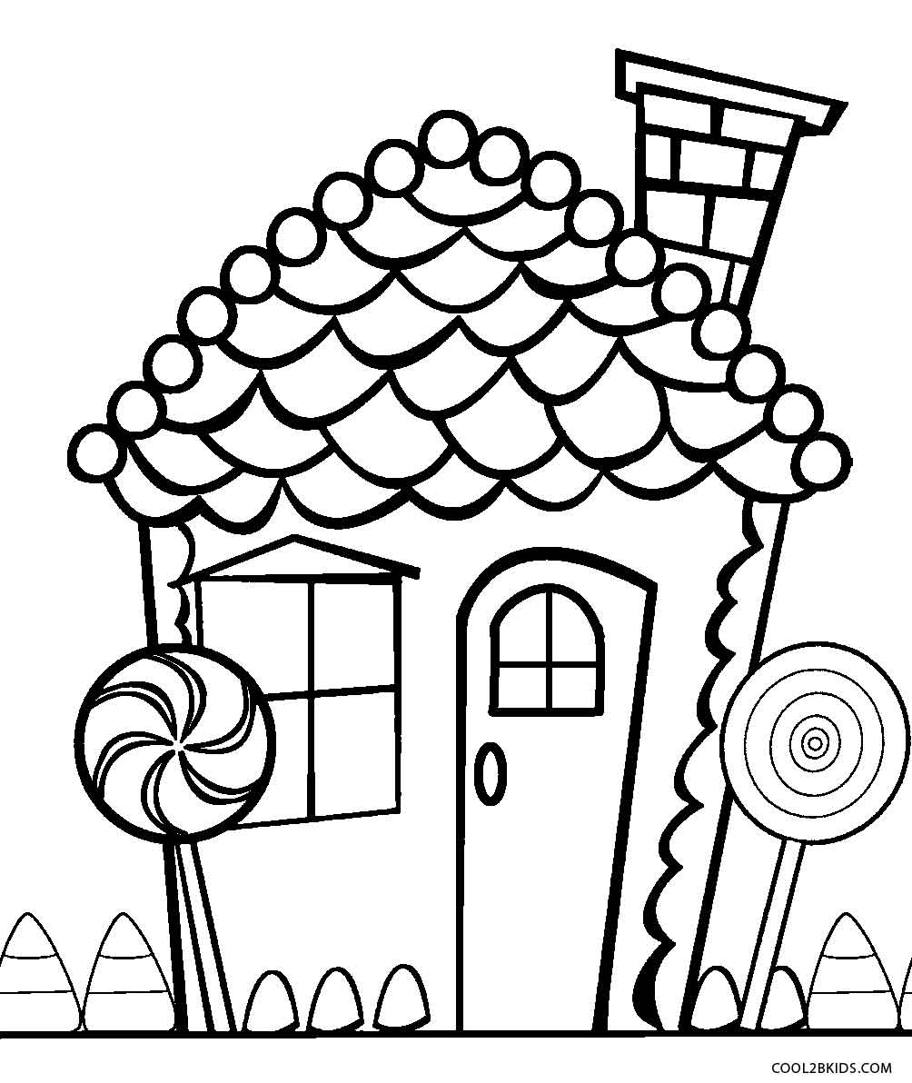 Printable candy coloring pages for kids cool2bkids for Gingerbread house coloring pages