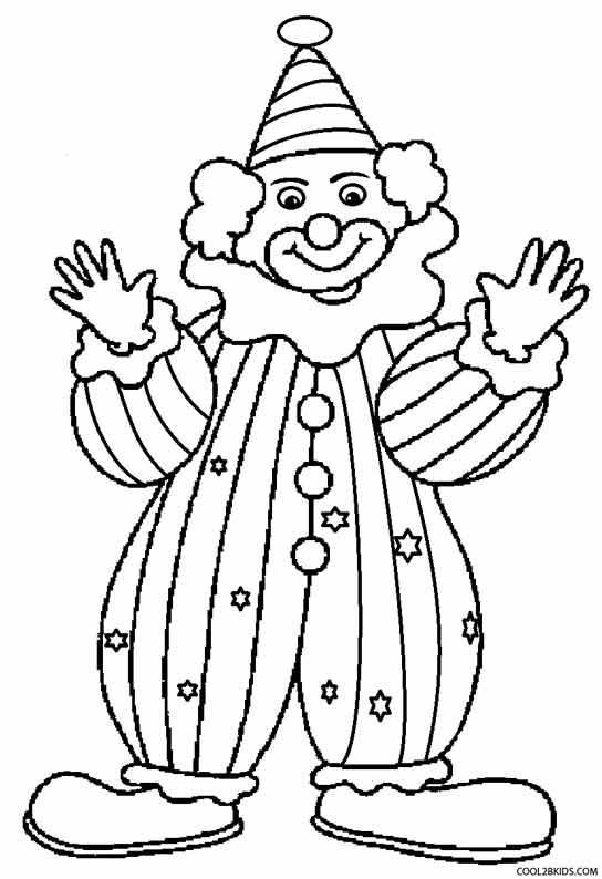 Printable clown coloring pages for kids cool2bkids for Printable circus coloring pages