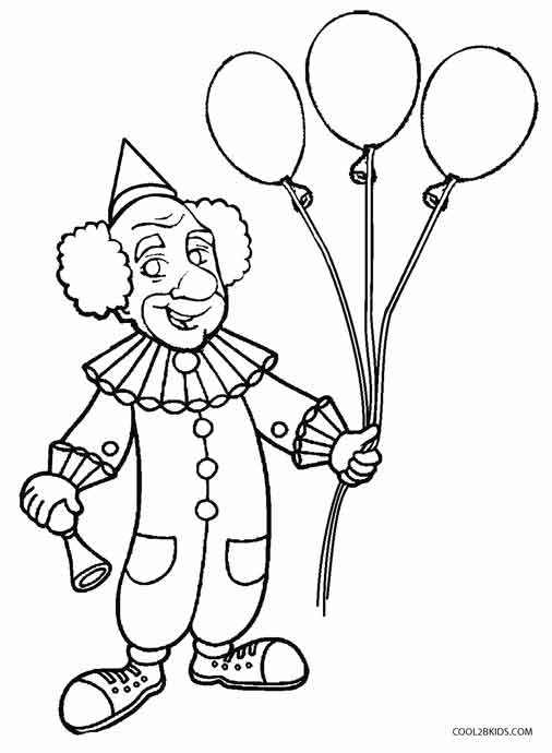 clown party circus coloring pages - photo#19