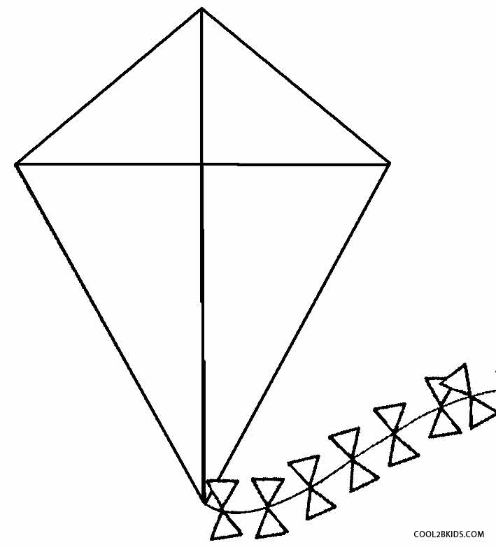 kite coloring pages preschool - Kite Coloring Page