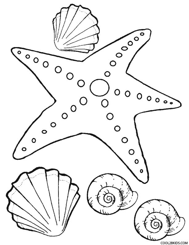 starfish coloring page for kids
