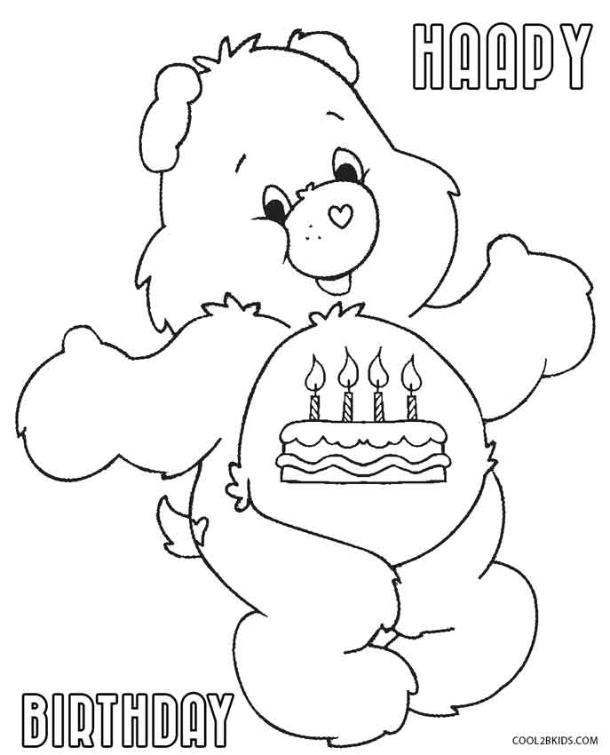 Birthday Care Bears Coloring Pages