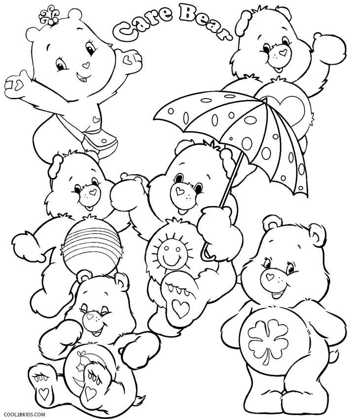 picture about Care Bear Belly Badges Printable called Printable Treatment Bears Coloring Web pages For Little ones Great2bKids