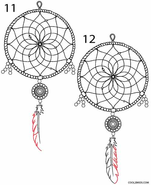 How to draw a dreamcatcher step by step cool2bkids for How do u make a dreamcatcher