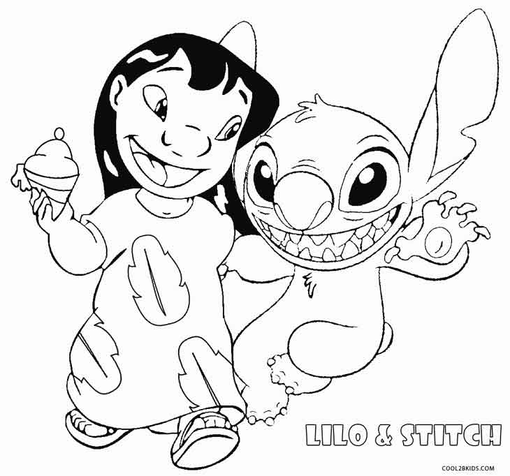 Lilo And Stitch Surfing Coloring Pages