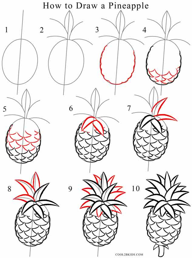 how to draw a pineapple step by step pictures cool2bkids. Black Bedroom Furniture Sets. Home Design Ideas