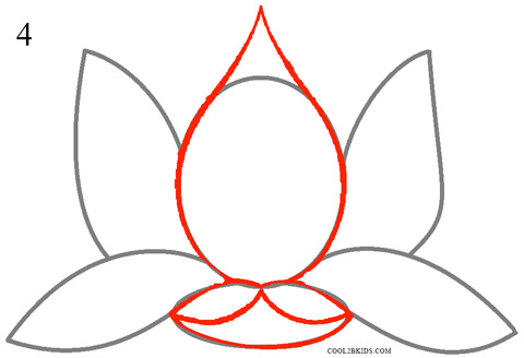 How to draw lotus flower step 4
