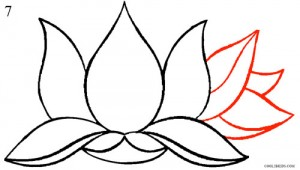 How to Draw Lotus Flower Step 7