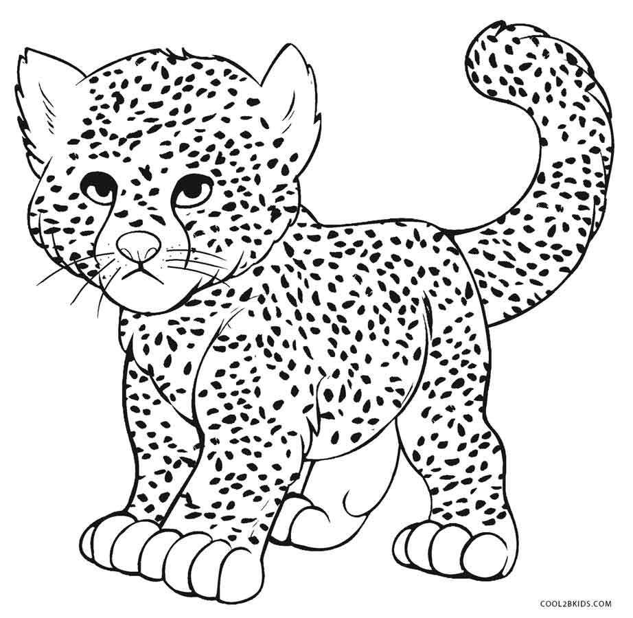 Free coloring pages leopard - Baby Cheetah Coloring Pages