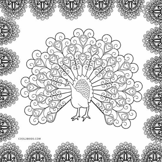hard peacock coloring pages - Peacock Coloring Pages