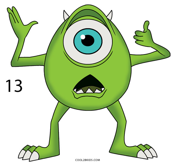 How To Draw Mike Wazowski Step By Step Pictures