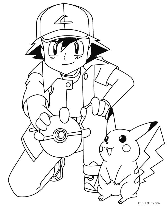 High Quality Ash And Pikachu Coloring Pages