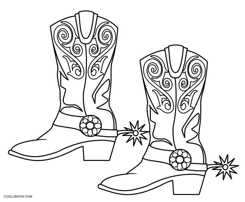 cowboy boots coloring pages free - photo#1