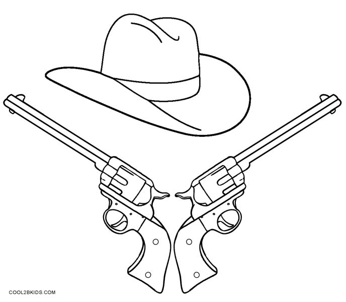cowboy gun coloring pages