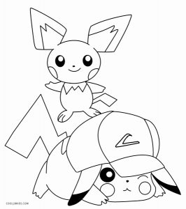 Pikachu with Hat Coloring Pages