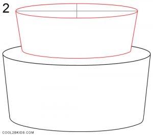 How to Draw a Birthday Cake Step 2